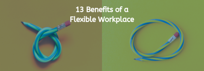 "two flexible pencils with the title ""13 benefits of a flexible workplace"""