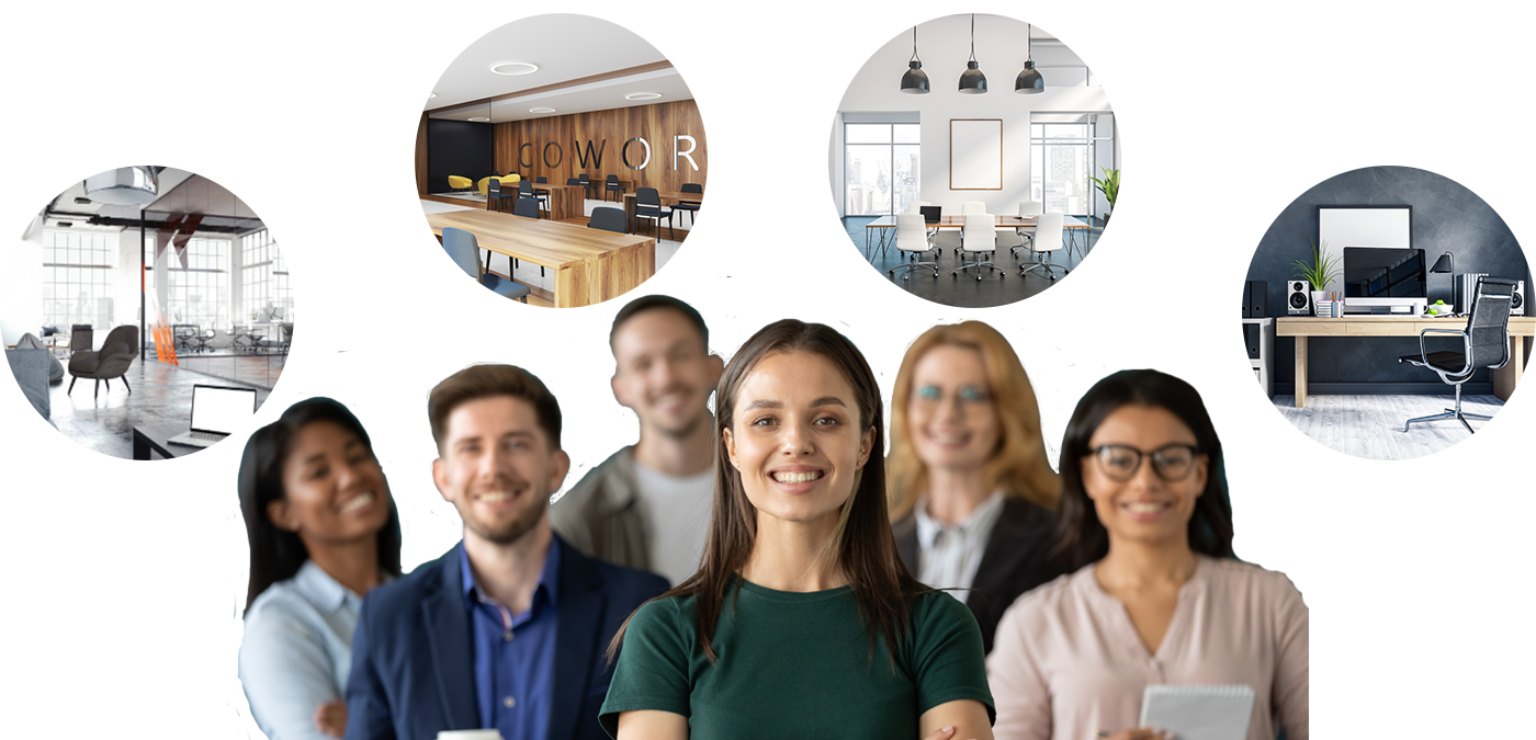 a group of employees with images of 4 different workplace setups in circles above their heads